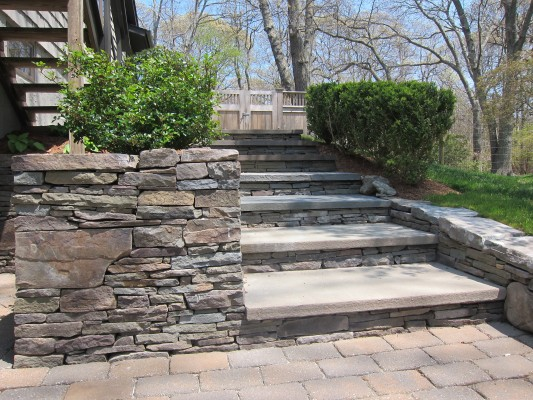 Stacked Stone Steps & Blue Stone Entryway