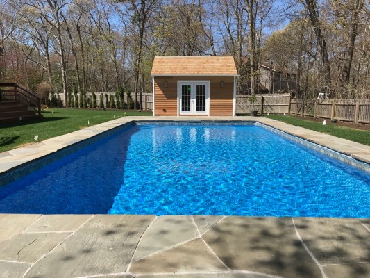 Mahogany deck, Pine Pool house, pool patio